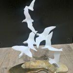 Bronze sculpture of Shorebirds on Sand Base