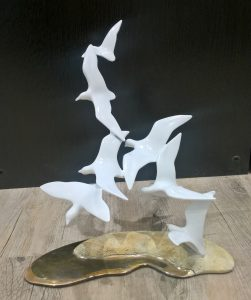 Bronze sculpture of Shorebirds on Sand Base
