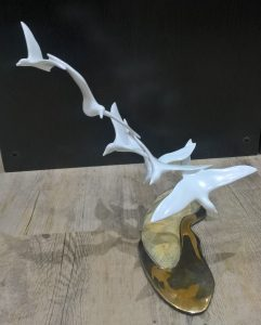 Shorebirds on Sand Bronze Sculpture