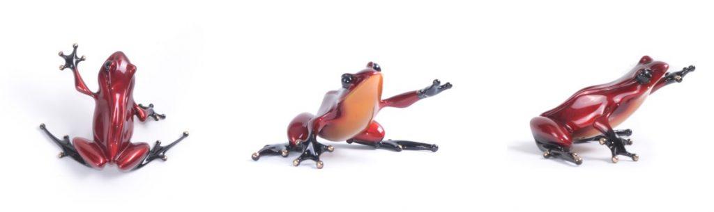 Christmas bronze frog sculpture