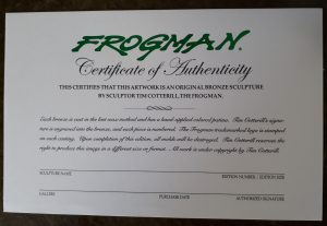 Frogman Certificate of Authenticity