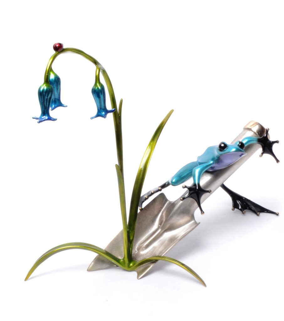 bluebell flower and frog bronze from tim cotterill
